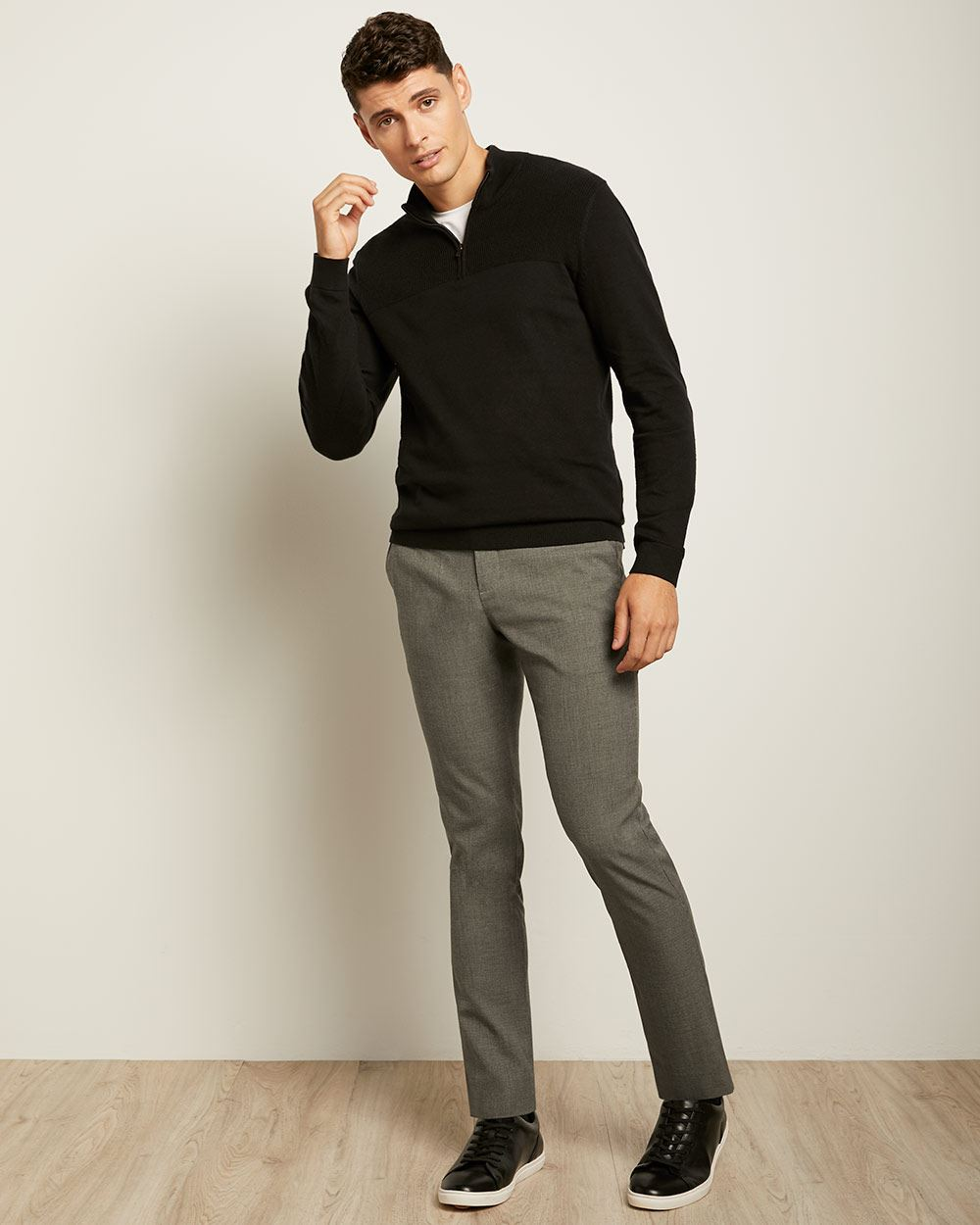 Zipped Mock-Neck Sweater with Textured Stitch