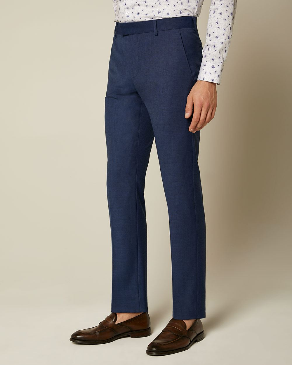 Essential Tailored Fit blue wool-blend suit Pant