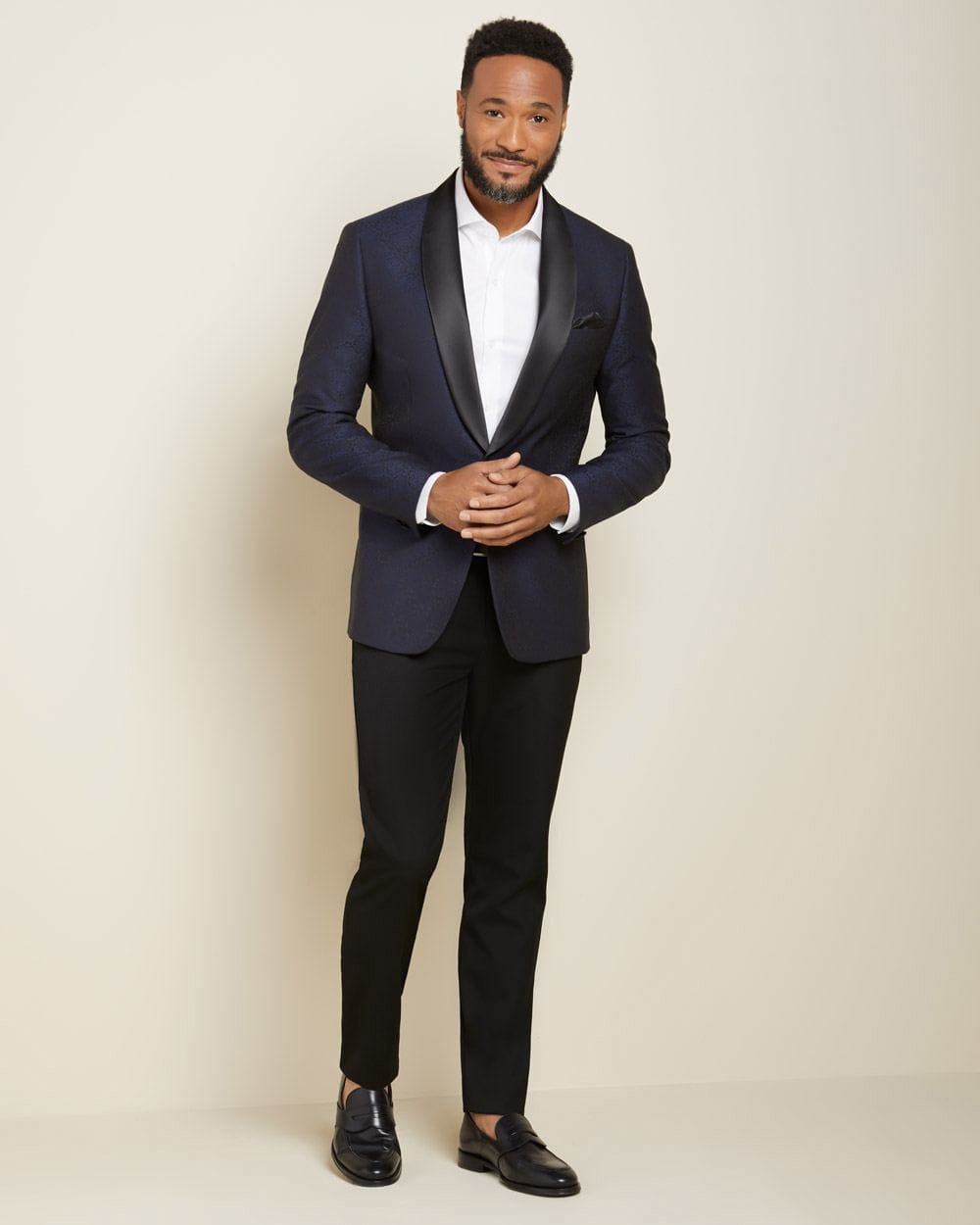 Slim fit Black and Navy Jacquard tuxedo blazer