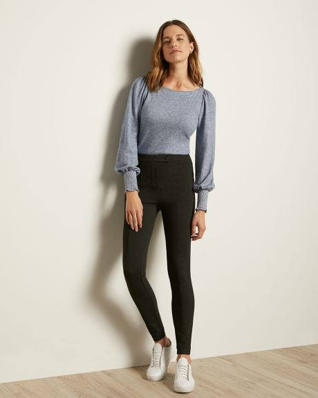 Boat-Neck Puffy Sleeve T-Shirt