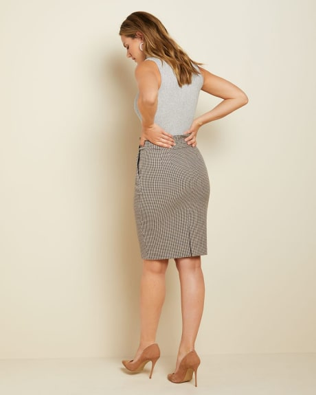 Buttoned High-waist checkered Paper bag skirt