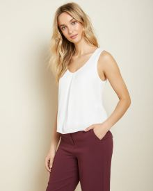 High-low silky crepe cami blouse