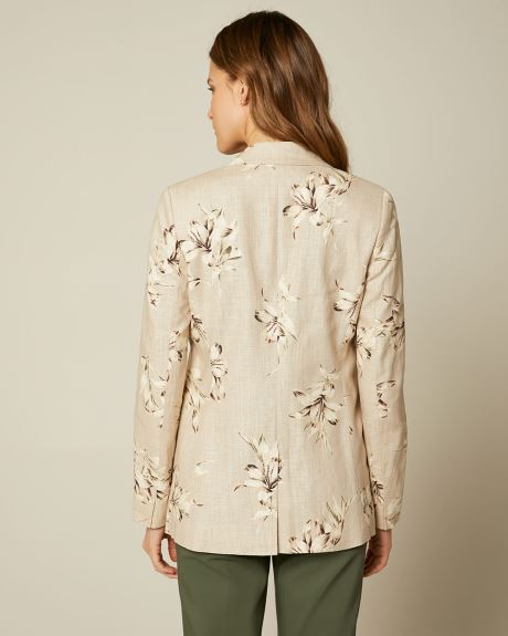 Printed Linen Long Fitted Blazer
