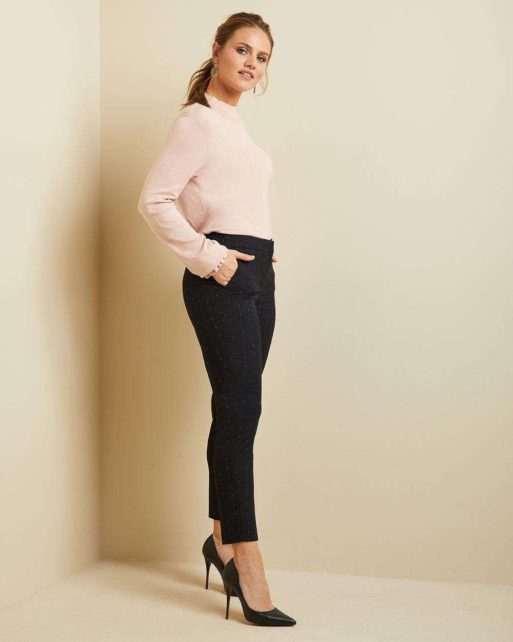 Dotted navy Curvy fit Slim Leg Ankle Pant
