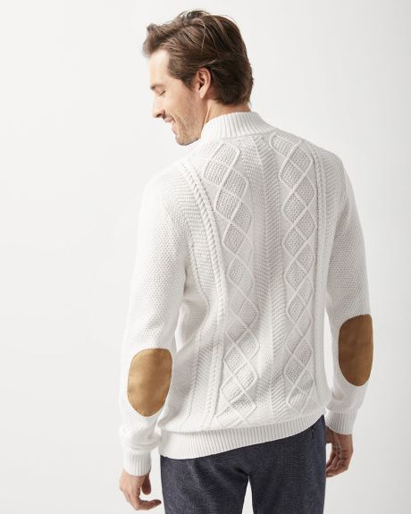 Mock-neck sweater with elbow patch