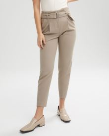 High-Waist Pleated Paperbag Ankle Pant - 28""