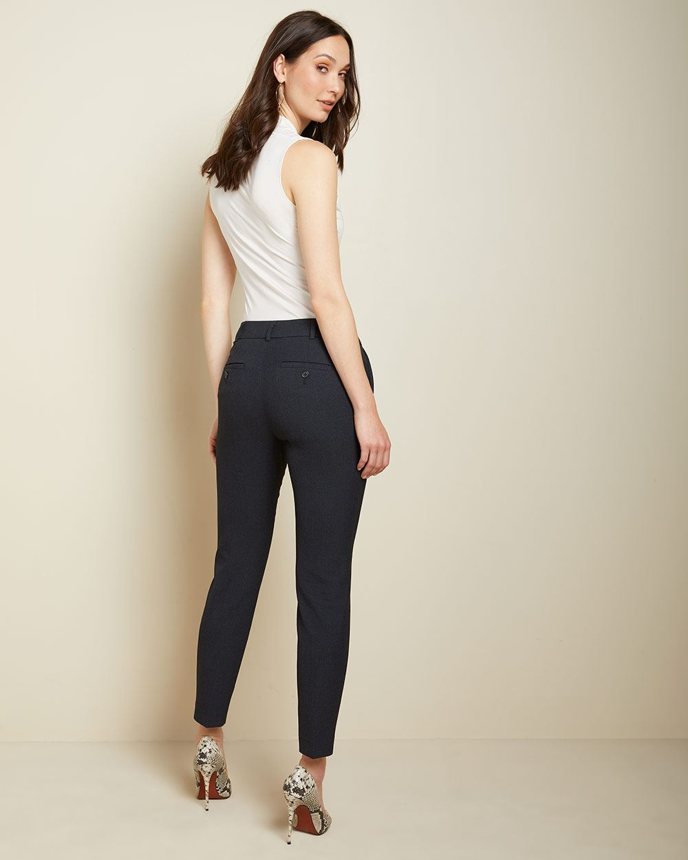 Two-tone Navy Signature fit Slim Leg Ankle Pant