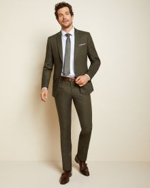 Slim fit Olive green suit pant
