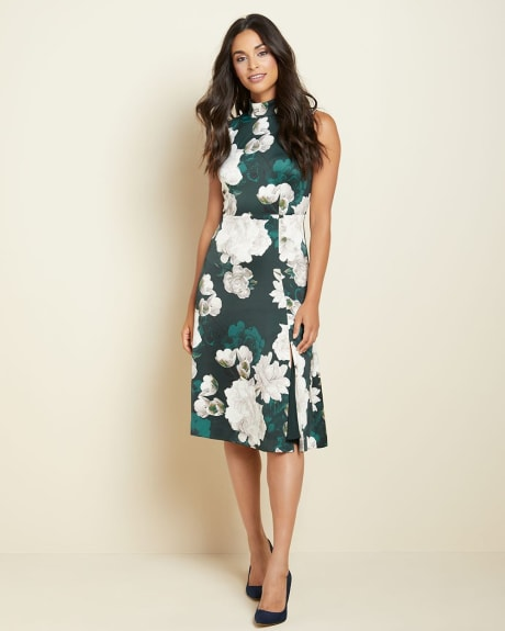 Floral fit and flare midi dress