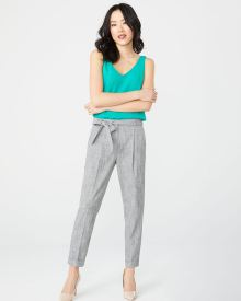 Grey crosshatch paper bag pant