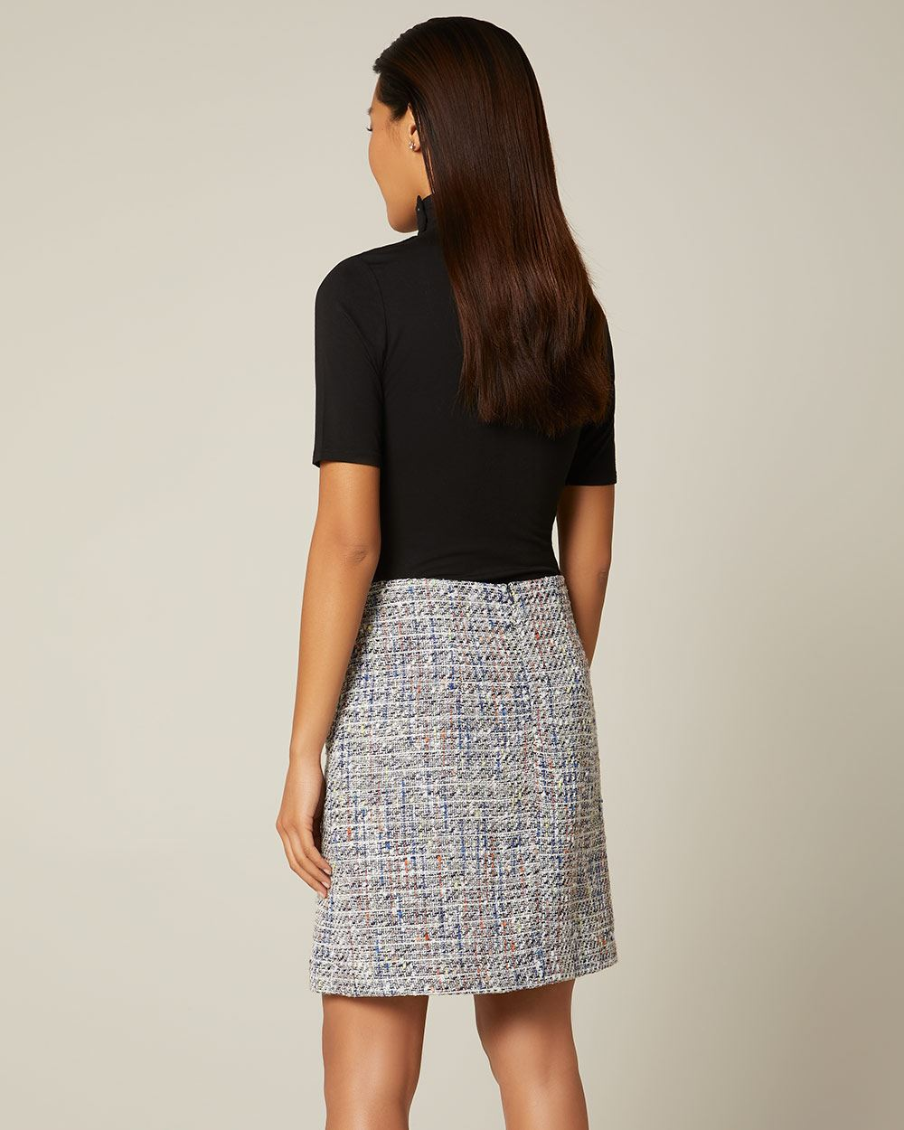 Bouclé High-waist faux wrap skirt