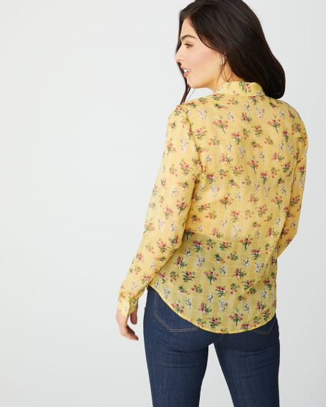 Long sleeve floral blouse with frills