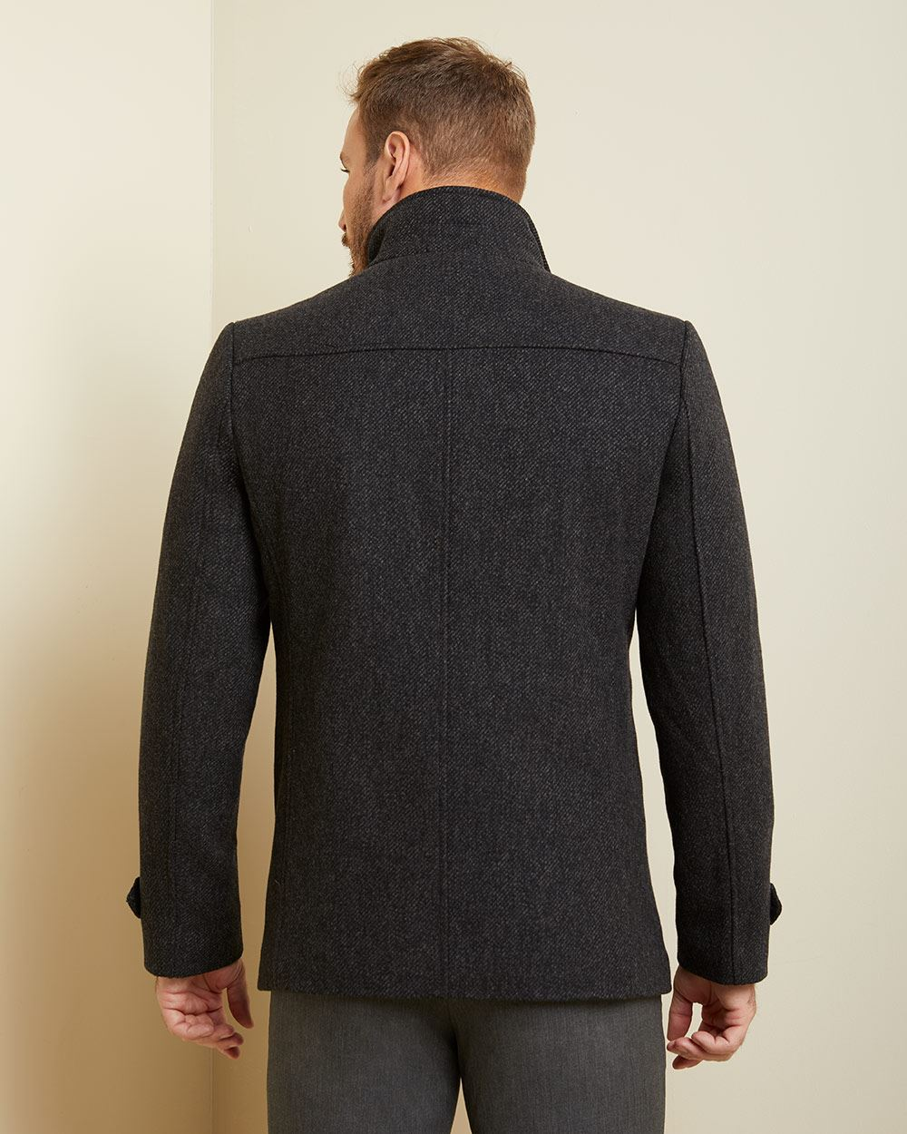 two-tone Wool-blend car coat
