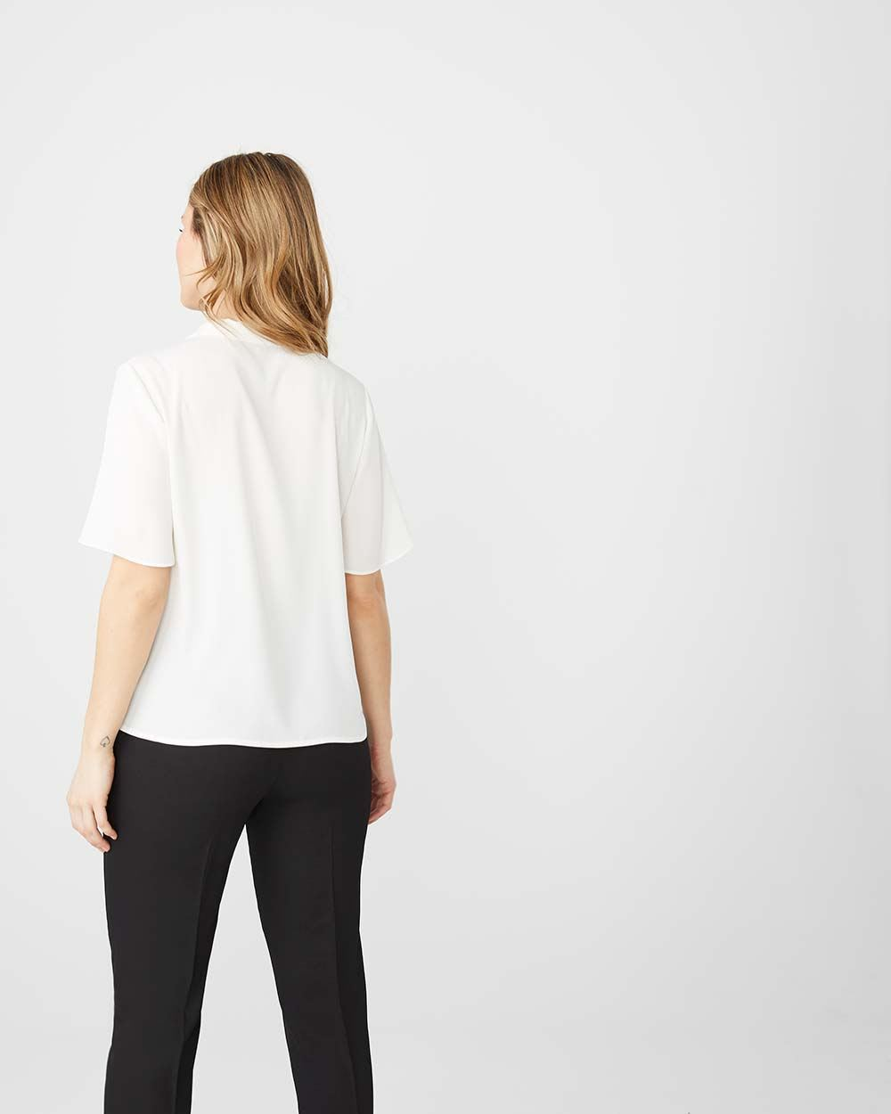 Camp-collared Short sleeve blouse