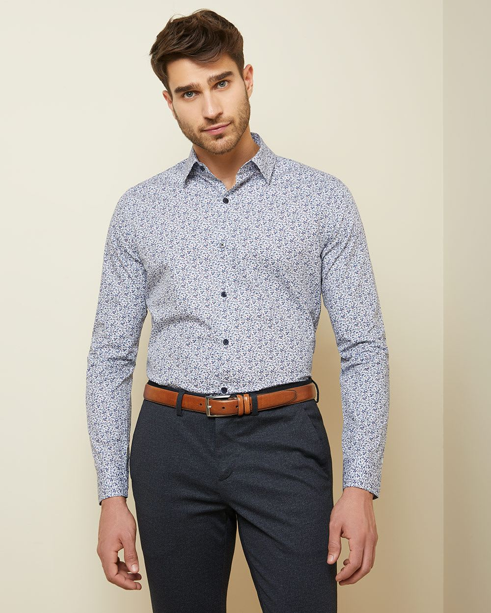 Tailored Fit Leaf Print dress Shirt