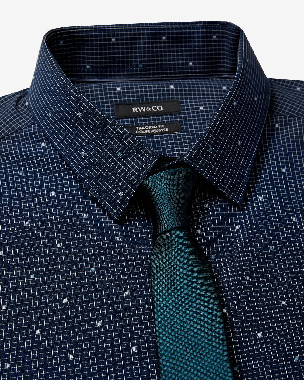Tailored fit grid and clipping dress shirt rw co for Tailored fit dress shirts