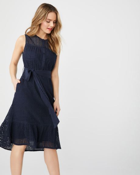 ea9f8995960 ABS by Allen Schwartz sleeveless fit   flare eyelet dress