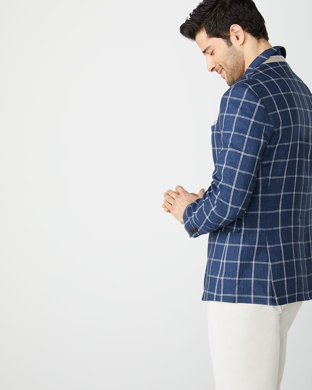 Athletic fit windowpane check linen blazer
