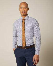 Slim fit mini blue check dress shirt