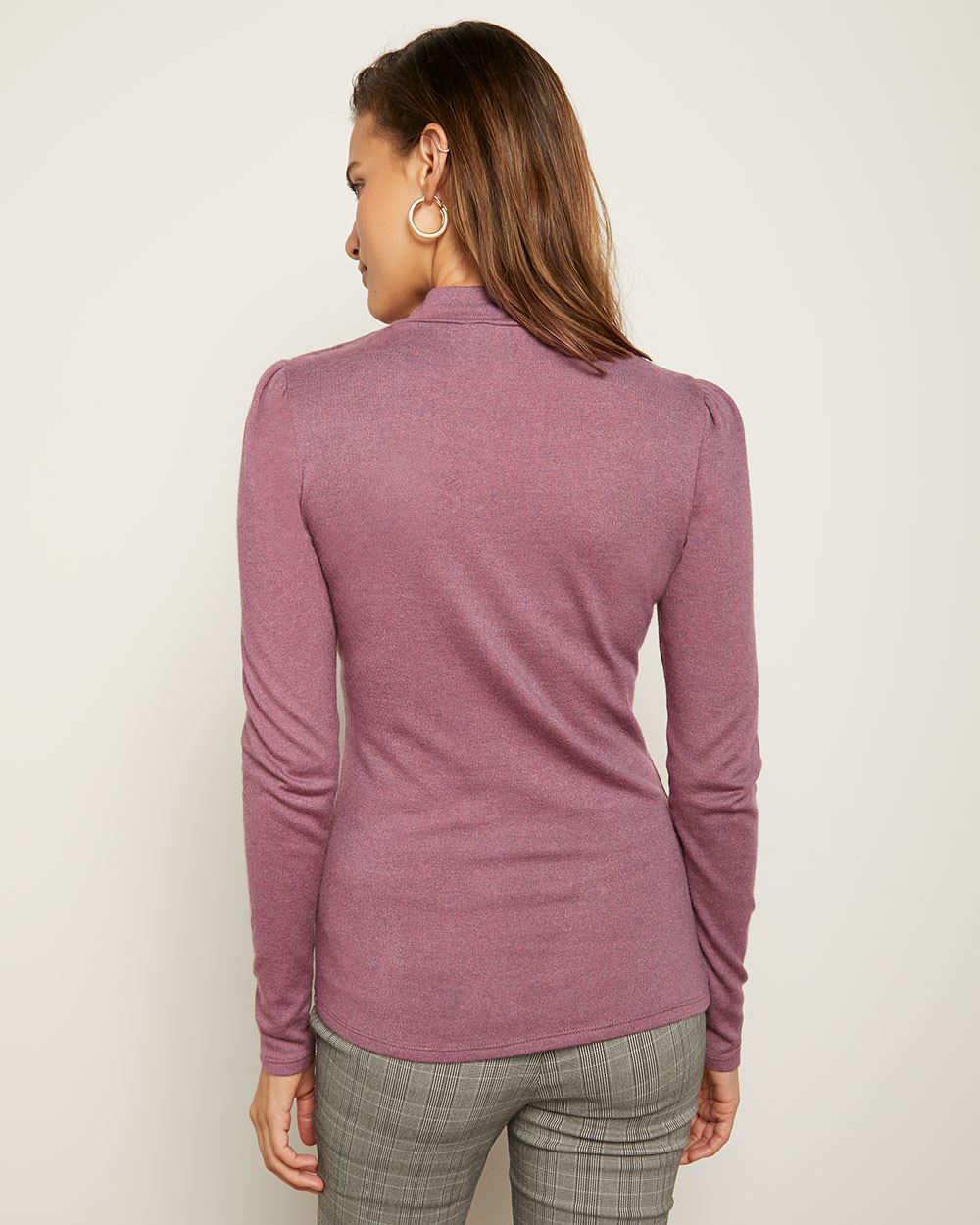 C&G Fitted Mock-Neck T-Shirt with Buttoned Shoulder