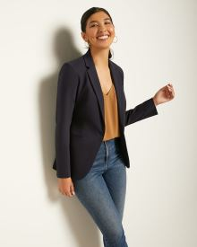 Long Fitted Solid Blazer
