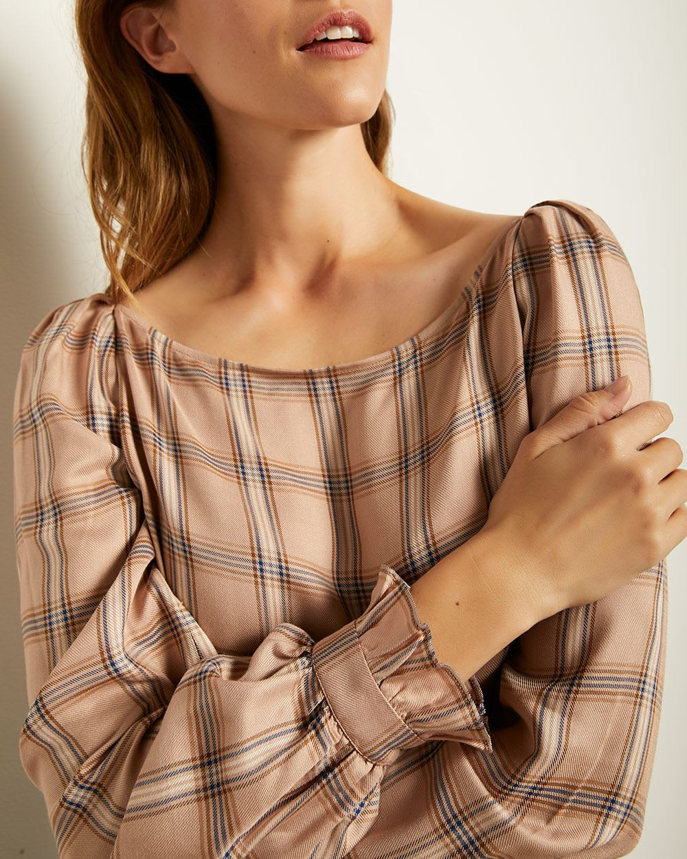 Puffy Sleeve Plaid Popover Blouse