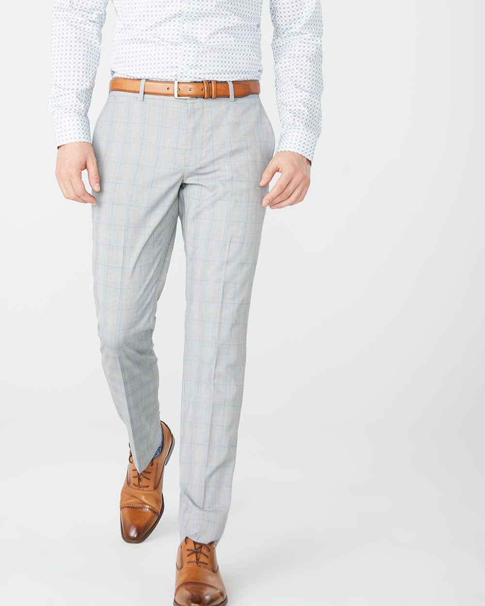 Slim Fit Grey And Blue Check Suit Pant Rw Co