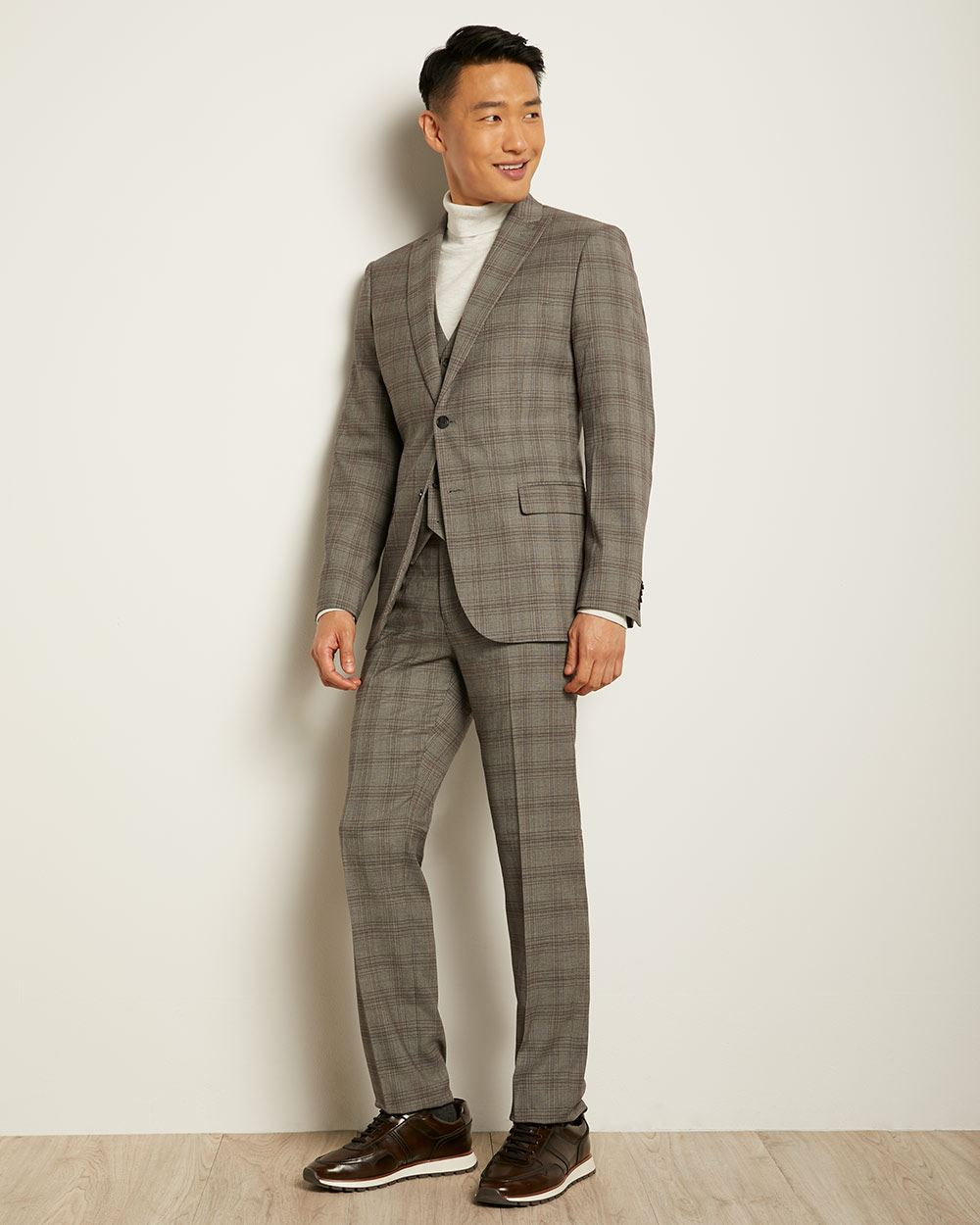 Tailored Fit Grey with Burgundy Check Suit Pant