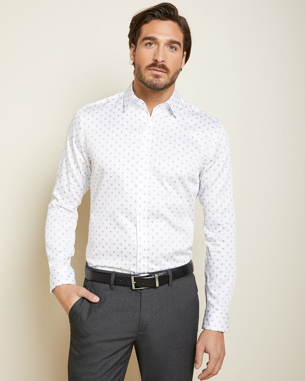 Tailored Fit micro navy medallion dress shirt