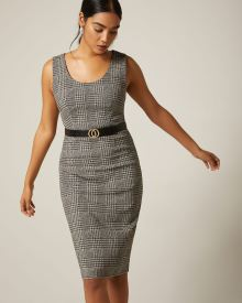 Houndstooth U-neck Sheath City dress