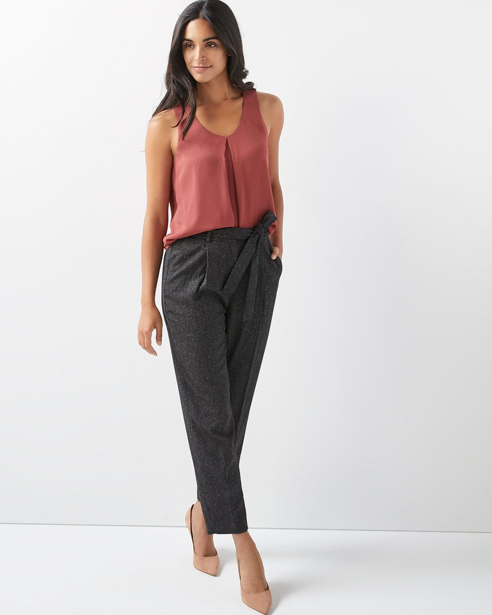 High-waist stretch nepped paper bag pant