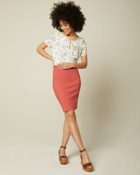 Solid Pencil City Skirt - 21''