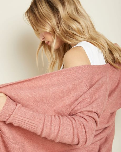 Spongy Knit Open-front Cardigan