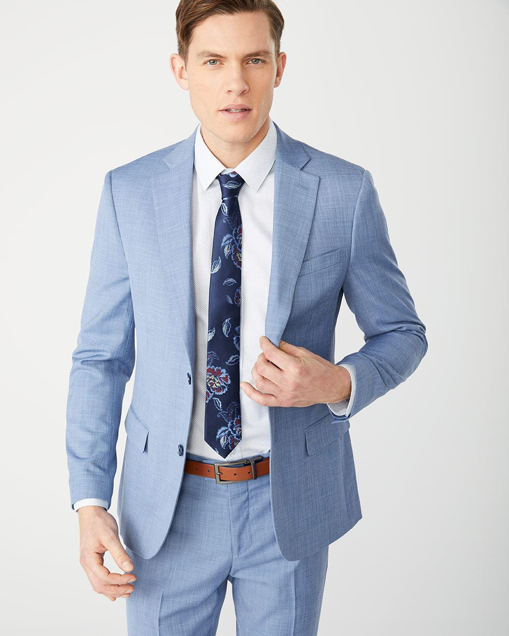 Slim Fit two-tone light blue suit Blazer