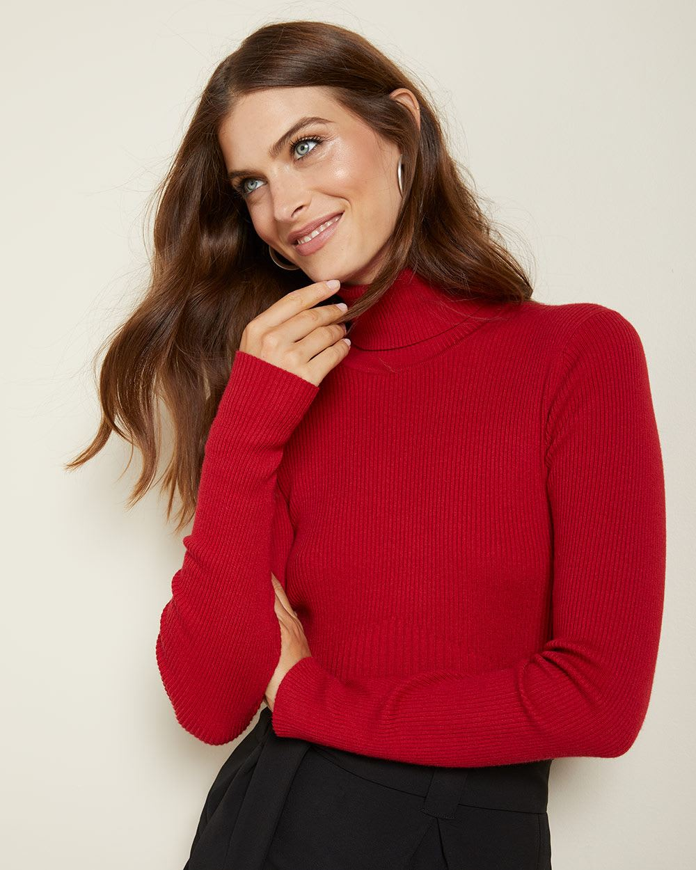 Rib knit Fitted turtleneck sweater