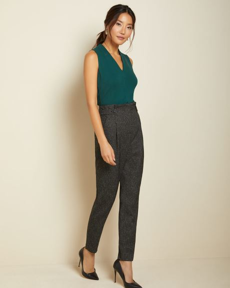 High-waist Black tweed pleated pant with buttoned waist