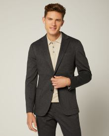 Slim Fit Navy Knit Blazer