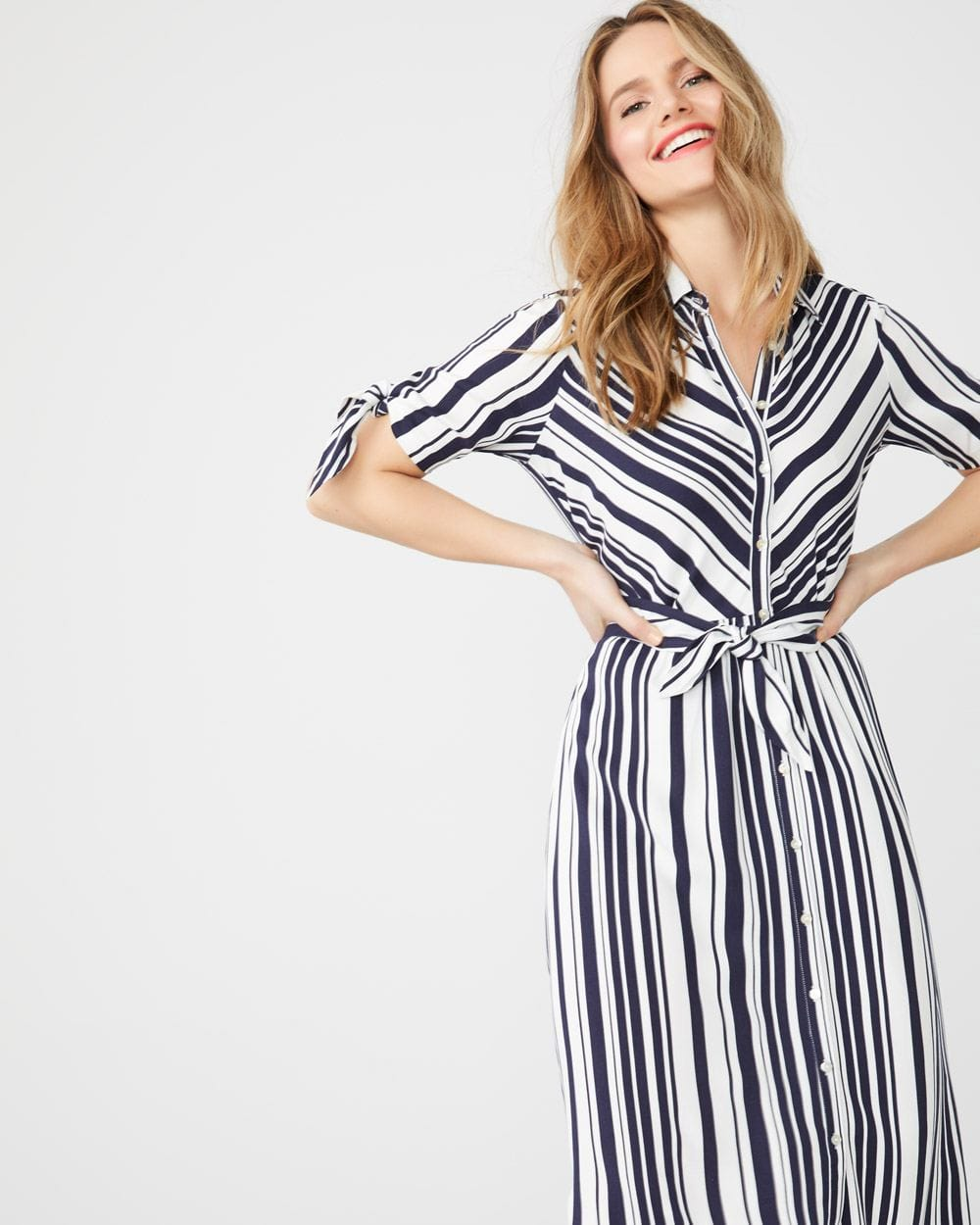 Striped midi-length shirtdress