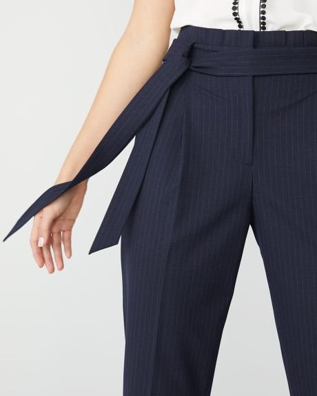 Stretch Navy pinstripe signature fit paper bag pant
