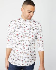 Athletic fit white floral shirt
