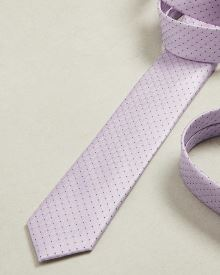 Skinny dotted light purple tie