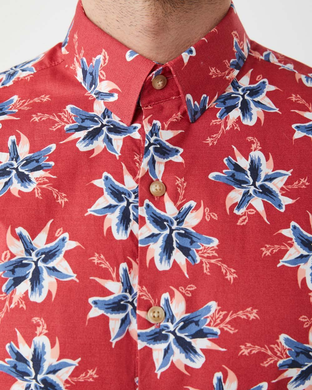 Slim Fit Short Sleeve red with flowers Shirt