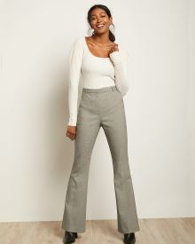 Houndstooth High-Waist Signature Fit Flare Leg Pant