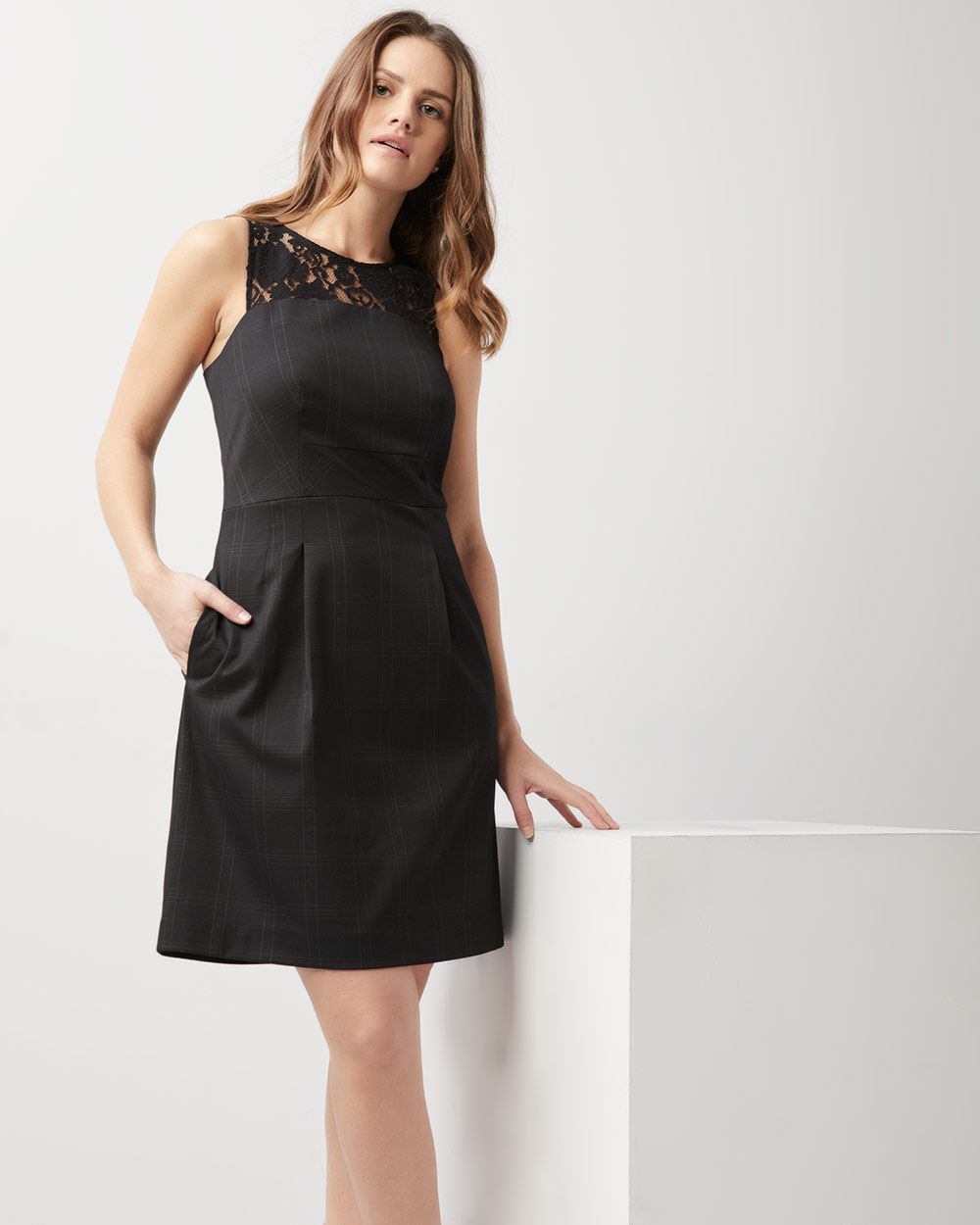 ab0bc5c33c Lurex plaid fit and flare dress with lace
