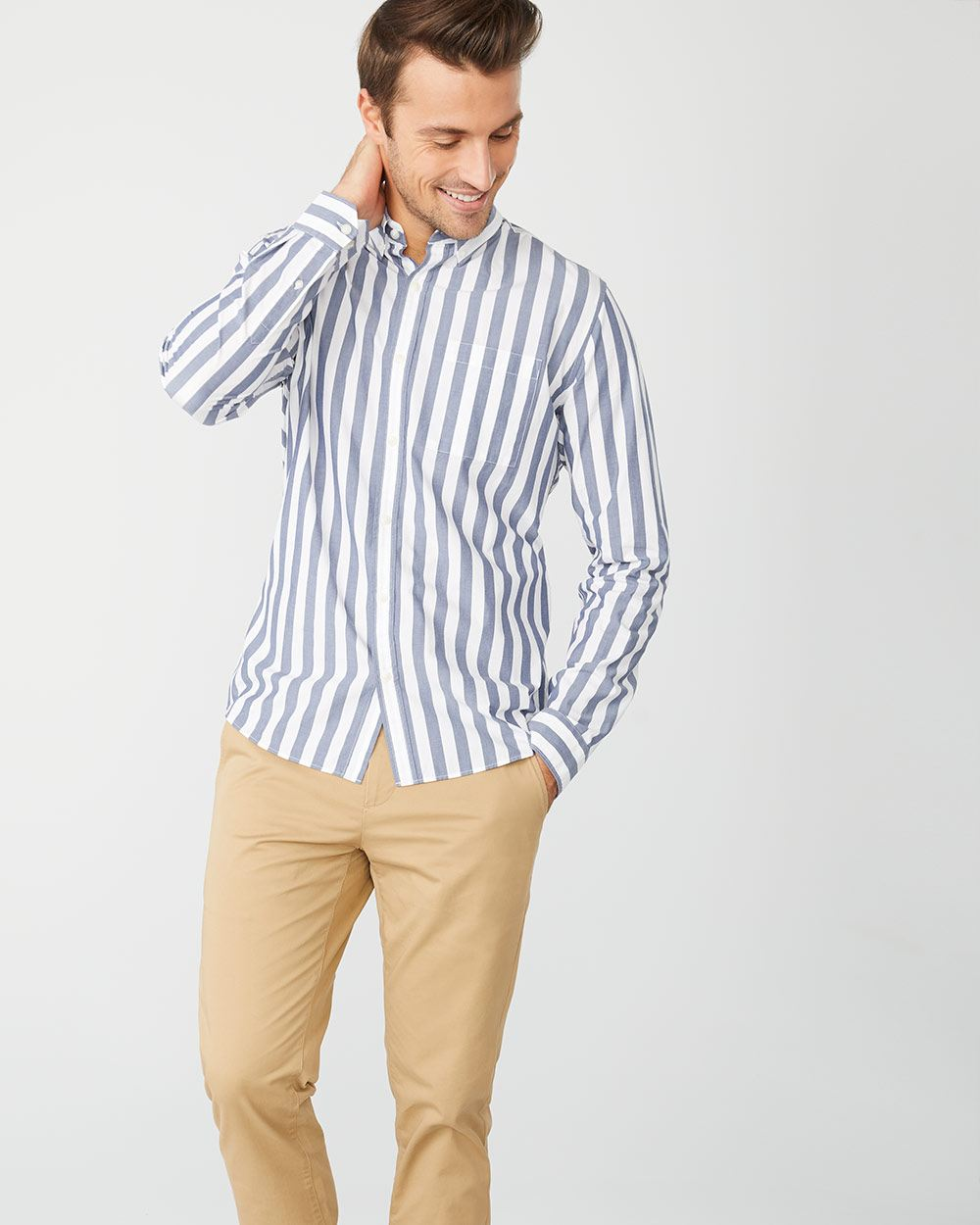 Tailored Fit Verticale blue stripe shirt