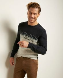 Jacquard Crew-Neck Sweater