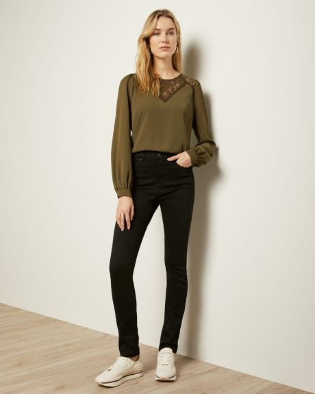 Lace-Trimmed Long Sleeve Crepe Blouse