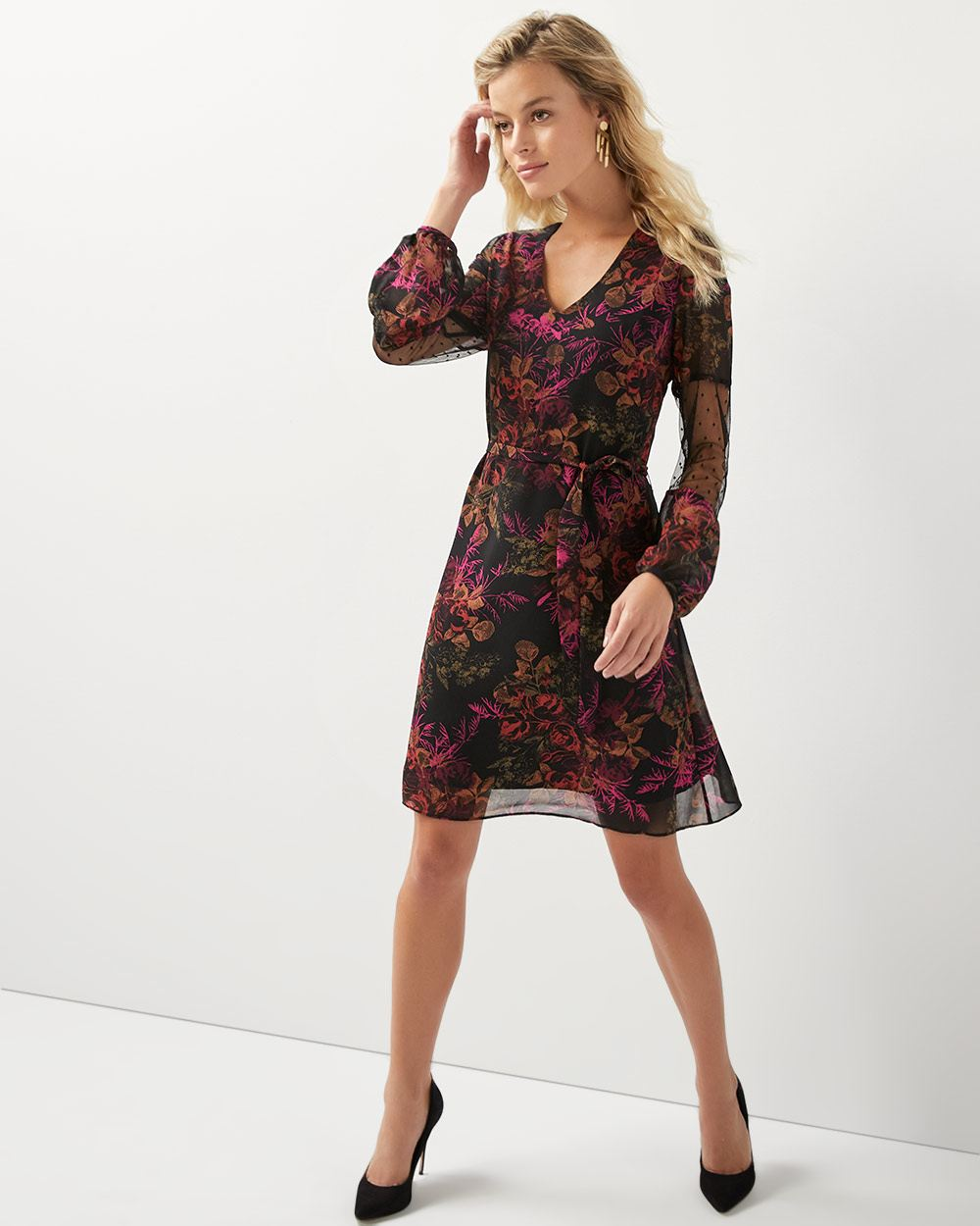 d195efdffa Floral dress with dotted mesh sleeve