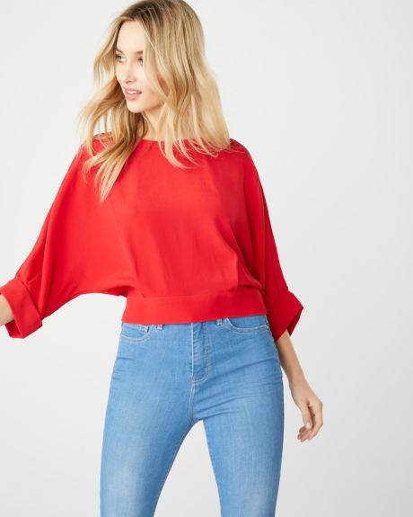 Red blouse with split back