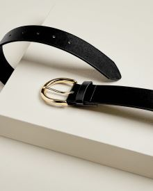 Faux leather belt with gold buckle